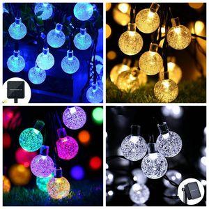 LED String Lights Solar Powered Waterproof Crystal Ball Christmas String Outdoor Lighting Courtyard Decorations Lights 30 Bulbs 6.5m FWB1992