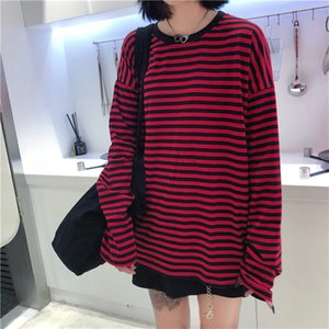Women Men Fashion Brand Korea Style Vintage Black Red Stripe Ulzzang Harajuku O-neck Long Sleeve T-shirts Female Casual Tshirts 200925