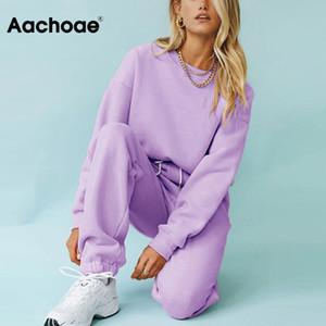 Aachoae Твердая Повседневный костюм Женщины Спорт 2 шт Набор Толстовки Пуловеры Толстовки Костюм 2020 Главная Sweatpants Шорты Костюмы