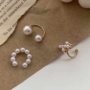 3шт / серия Простой Pearl Ear Cuff Pearls крест клип серьги Поддельные пирсинг уха манжета Женщины Clips ювелирные изделия уха Accessorie