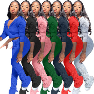 Frauen Anzug 2-teiliges Set Art und Weise faltet Slit Pant Langarm-Kapuzenjacke Cardigan Outfits Damen Freizeit Solid Color Sportanzüge 2020