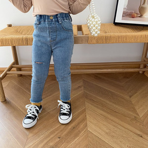 INS Baby Kids Girl Jeans New Girls denim Holes Pants Autumn cotton Fashion Girls Pants 1-6 t