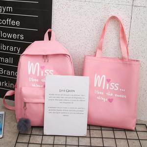 Laamei 4Pcs set Women School Backpacks Nylon Schoolbag For Teenagers Girls Student Book Bag Boys Mochilas Sac A