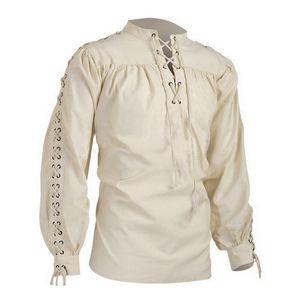 Mens Blouse Medieval Pirate Shirt Viking Renaissance Lace up Halloween Mercenary Scottish Jacobite Ghillie Tops New