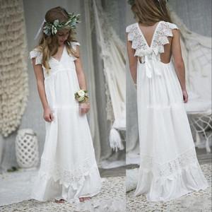 New V Neck Lace Bohemia Cheap Lovely White Ivory Flower Girl Dresses For Weddings Cap Sleeves Girls Pageant Dress Prom Kids Communion Gowns