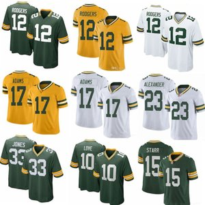 12 Aaron Rodgers Yeşil # BayFutbol PackersJersey 33 Aaron Jones 17 Davante Adams 23 Jaire Alexander 15 Bart Starr 10 Aşk formaları