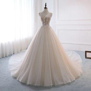 Sparkly Wedding Dresses with Straps V-neck Aline Sequins Lace Long Train Beaded Bridal Gown Lace Up Back robe de mariée