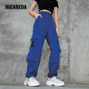 Higareda Casual Loose Women Cargo Pants Capri vita alta pantaloni lunghi Streetwear Solid Female piatti Sweatpants tasche con cerniera