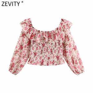 omuz kapalı Zevity kadınlar seksi şık çiçek baskı elastik ince blusas gömlek LS7006 başında kırpılmış kısa önlük bluz bayanlar havalandıran