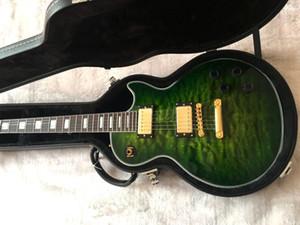 2020 line-up guitarra costume chinês de alta qualidade elétrico, verde guitarra acabamento de luxo, hardware de Ouro, frete grátis guitarra deluxe