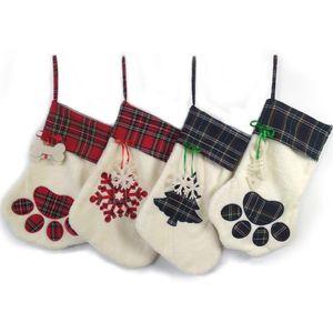 Grande Fluffy de Santa Meias de Natal Pet Dog Plaid Paw Stocking Hanging Tree Xmas da chaminé do Natal Decoração DHC1774