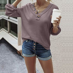 Women Long Sleeve Knitted Tshirt Spring Autumn Ladies Sexy Button V Neck Pullovers Solid Tops Tees Casual Loose Women T Shirt