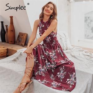 Simplee Halter backless summer dress women Hollow out sleeveless maxi dress Elegant high waist boho floral dress female vestidos0924
