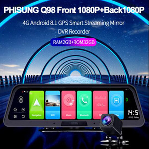 1PCS 10inch ل4G القيادة مسجل فيديو الكاميرا الخلفية مرآة الرؤية الخلفية سيارة DVR الروبوت 8.1 GPS المسجل واي فاي 2 32G FHD 1080P