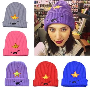Men Women Knitted Hat Star Pattern Solid Color Casual Style Crochet Knit Beanie Autumn Winter Warm Head Cap Shawl