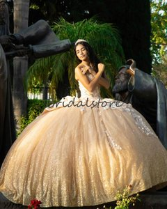 Custom Made Gold Quinceanera Dresses 2020 Sparkly Sequins Fluffy Ball Gown Prom Dresses With Flowers Beaded Sweet 16 Dress Corset Evening