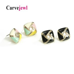 Carvejewl simple stud earrings metal square hand painted enamel glaze stud earrings for women girl jewelry new fashion
