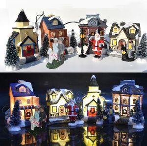 Articoli da regalo di Natale LED resina Glow Casa giocattoli di Natale della decorazione della casa di Babbo Natale dell'albero di Natale per bambini dell'ornamento di natale trasporto marittimo OWE1615