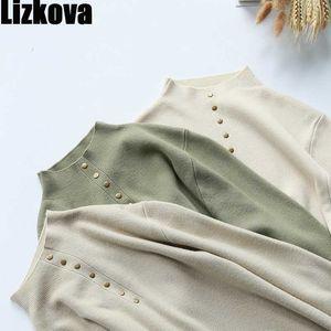 Lizkova vert tricoté tricover femme femme moitié turtleneck Rivet pull automne 2020 dames tops