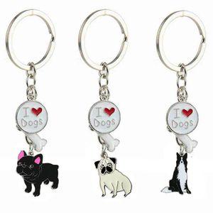 Я люблю собак Keychain домашних собак Разнообразие Шарпей Тедди Шарм Подвеска автомобилей Key Chain Универсальный