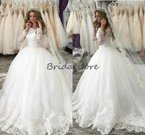 Principessa White Ball Gown Abiti da sposa con maniche lunghe collo barca Lace Country Abito da sposa 2020 cerniera posteriore Appliques Abito da sposa a buon mercato