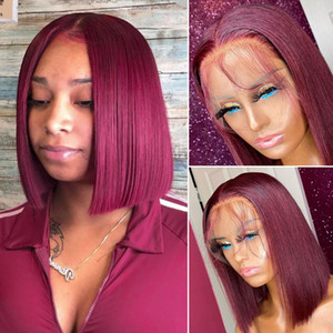 HALO 99J Burgundy 13X4 Lace Front Human Hair Wigs Glueless Pre Plucked Remy Straight Brazilian Red Short Bob Wig for Black Woman