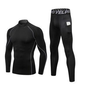 Termal İç Giyim Erkekler Yüksek Yaka Kış Paçalı don Termo İç Sıkıştırma Ter Hızlı Kurutma Termal Giyim ayarlar
