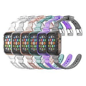 Glitter Clear TPU Case For Apple Watch 6 5 4 SE with Slim watchband Siamese Transparent Strap 40mm 44mm 2020 band Smart cover