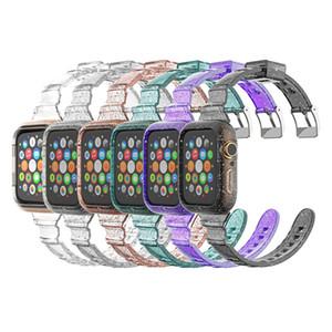 Блеск ясность TPU чехол для Apple Часы 6 5 4 SE с тонким сиамской Transparent вахты диапазона планки 40мм / 44mm 2020 зонной Смарт обложки
