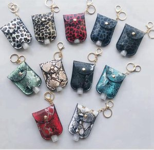 Leopard Sanitizer Bottle Bags Keychain With 30ML Empty Bottle Hand Sanitizer Holder PU Leather Perfume Bottle Cover Party Favor DDA545