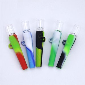 Colorful One Hitter Silicon Pipe Mini Handheld Tobacco Vaporizer Oil Burner Smoking Bong Glass Dab Rig Dabber Accessories Portable