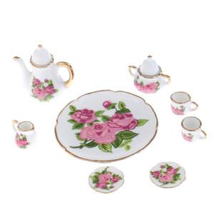 8PCS 인형 집 미니어처 장미 꽃 세라믹 차 세트 냄비 컵 접시 플레이트