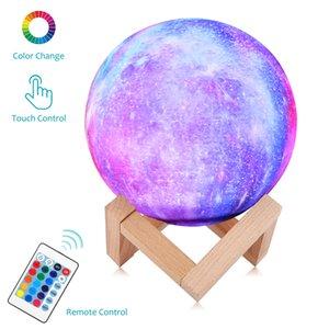القمر مصباح الاطفال ليلة ضوء المصباح 5.9 بوصة ألوان 16 LED 3D ستار ضوء القمر مع الخشب حامل، التحكم عن بعد التي تعمل باللمس