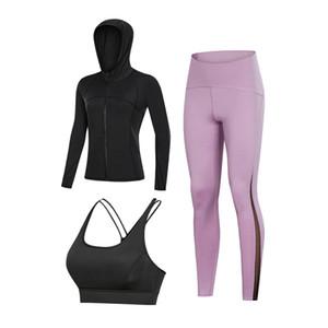 Yoga Giyim Güz Bra Sütyen iç çamaşırı uzun kollu pantolon kapalı antrenman üç parçalı kuru elbise çalıştıran açık bayanlar formunu set