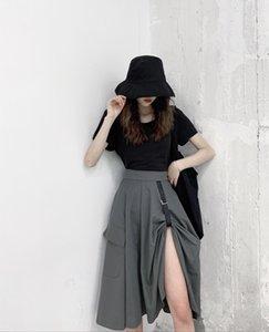 0HJld 2020 printemps et ins été Internet mi-longueur pantalon large parapluie parapluie skirt- ligne balançoire jupe fendue irrégulière cele taille haute