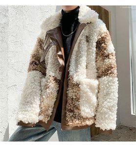 Clothing Winter Mens Lamb Coats Lapel Neck Thick Mens Warm Coats Patchwork Designer Males Fashion Cotton