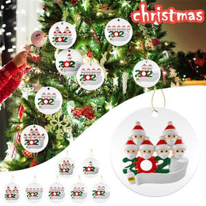 DHL Free 2020 Quarantine Christmas Birthdays Party Decoration Gift Personalized Family Of 2 3 4 5 6 7 Ornament Pandemic Social Distancin