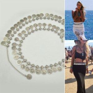 hDMEU KY018 Anhänger jewelryJewelry jewelryBohemian lange Quaste Taille Kette FP Metall Anhänger alte Münze Schmuck Latin Tanzgürtel