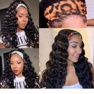 Loose Wave Headband Glueless Wig Human Hair Wigs Remy Brazilian Full Machine Made Wig For Women