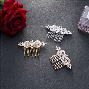 SLBRIDAL Luxe Prong Réglage Vintage zircon mariage Peigne de mariée CZ Coiffe Accessoires cheveux demoiselles d'honneur