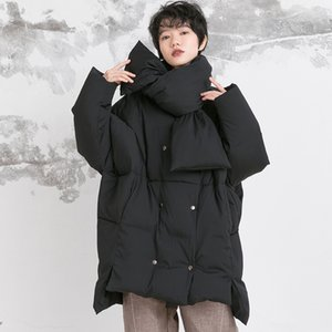Plus size scarf style down coats Winter oversized loose fluffy down coat female double breasted warm parkas F2145