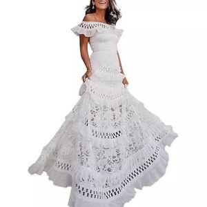 Fashion Hollow Swing Lace Dress Hollow Elegant Beach Holiday Summer Women's Dresses Elegant Party Sweet Dress XXL
