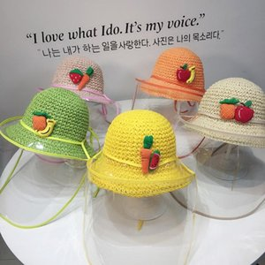 Kids Summer Sun Hat Detachable Clear Screen Fisherman Straw Cap Anti-spitting Protective Hat Visors Dustproof Cover Caps #LR3
