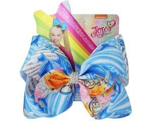 JOJO SWIA Heißer Verkauf 12pcs 8inch Eis Bögen Mermaid Einhorn-Regenbogen gedruckte Bogen für Mädchen Handmade Boutique-Haar Klipp-Haar-Zusätze