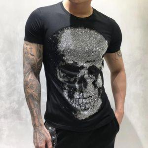 7 mens designer t shirts men short sleeve fashion rhinestone big skull man t-shirt male high quality 100% cotton tees