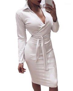 Dresses with Sashes Womens Bodycon Dresses PU Sexy Deep V Female Shirt Dresses Spring Autumn Skinny Belt Sheath