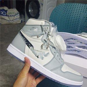 With box Dior x Air Jordan 1 High OG 2020 collaborazione anniversario ufficialmente rivelato Grigio Bianco francese etichetta di stile di moda di scarpe Kim Jones Sneaker size36-46