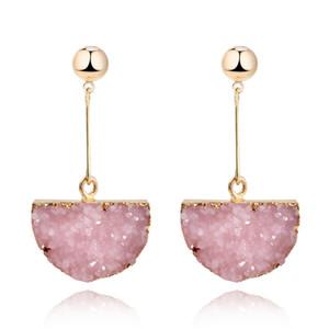 1Pair Resin Stone Druzy Earings For Women Jewelry Handmade Semicircle Drusy Drop Dangle Earing Eardrop Long Earrings E157