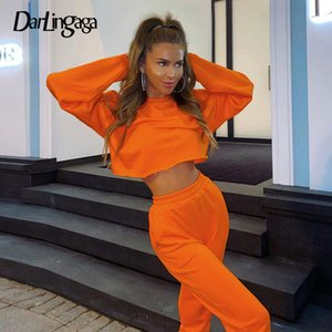 Darlingaga Casual Loose Workout Tracksuit Women Two Piece Set Solid Autumn Winter Cropped Sweatshirt and Sweatpants Suit Outfits X0923