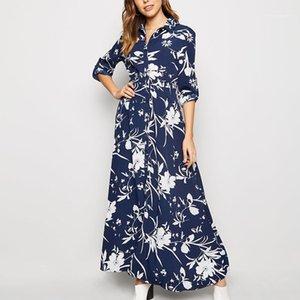 Baskı Günlük Elbiseler Moda Tek Breasted Yaka Boyun Kadın Tasarımcı Gömlek elbiseler Casual Dişiler Giyim Floral Womens